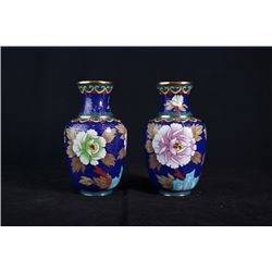"A Pair of Two Small Cloisonne Enamel ""Floral and Bird"" Vase."
