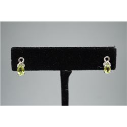 A Pair of Green Olivine and Diamond Earrings Inlaid with 925 Silver.