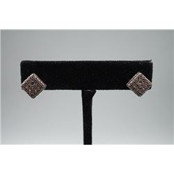 A Pair of Square Earings Inlaid with Diamond Black.