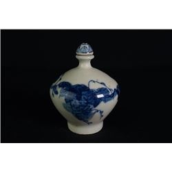 """A Blue-and-White """"Floral"""" Snuff Bottle."""