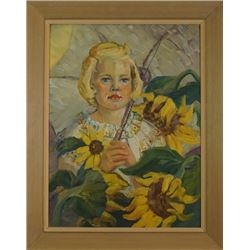 A.Warren Oil Painting «Girl in the sunflower field».