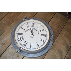 New - Cast Aluminum Port-hole Style Clock