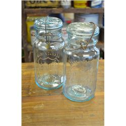 (2)-Vintage-Perfect-Seal-Glass-Embossed Canning-Jar