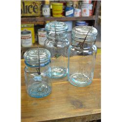 (3)-Vintage-Perfect-Seal-Glass-Embossed Canning-Jar