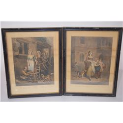 "2 - pieces of original antique artwork - by F. Wheatly ""Street Cries""  & Cries of London"