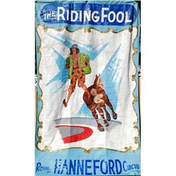 "HUGE-Original Circus Attraction Banner - ""Riding Fool"""