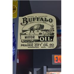 Buffalo Motor Oil- 2 Sided Flange Porcelain Sign