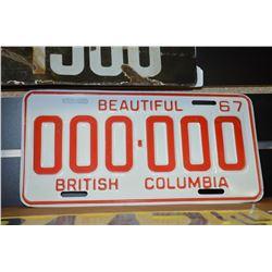 Rare - 1967 BC Sample Plate