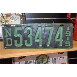 1919 ND License Plate