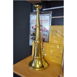 Vintage Brass Fireman Presentation Horn w Tassel