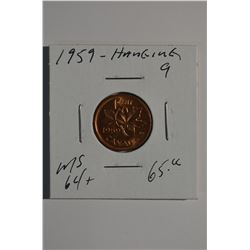 "1959 - ""Hanging 9"" Canadian 1-Cent"