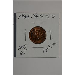 "1960 - ""Hanging 0"" Canadian 1-Cent"