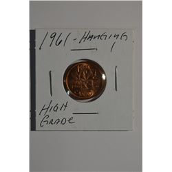 "1961 - ""Hanging 1"" Canadian 1-Cent"