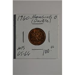 "1960 - ""Double Hanging 0"" Canadian 1-Cent"