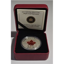 2013 $20 Silver Red Maple Leaf Impression Coin