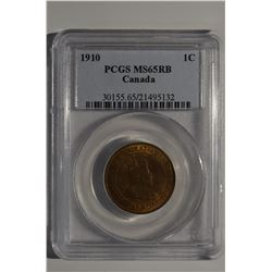 1910 Canada 1-Cent PCGS MS65RB