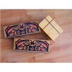 WOOD BOX WITH LID & 2 WOOD BOXES WITH SLIDING LIDS (NATIVE ART TOP) = 3PC TTL