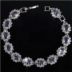 BRACELET - CREATED MYSTIC GEMSTONE & FLAWLESS CREATED DIAMOND IN 18K GOLD PLATED GERMAN SILVER SETTI