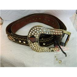 "BELT - GENUINE LEATHER - WITH RHINESTONES - 38"" - BAG OF EXTRA ROUND RHINESTONES - MISSING 1 DIAMOND"