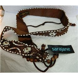 "BELT - SARAJANE BRAND - 32"" LONG - FEW SMALL BEADS MISSING"