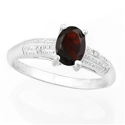 *RING - 4/5 CARAT GARNET & GENUINE DIAMONDS IN 925 STERLING SILVER SETTING - SZ 7 - INCLUDES CERTIFI