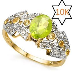 **** FEATURE ITEM **** RING - 1.00 CT MULTI COLOR GEMSTONE & DIAMOND 10KT SOLID YELLOW GOLD - INCLUD