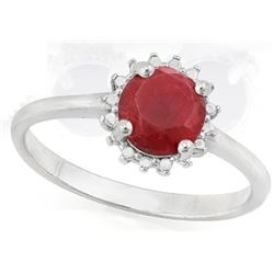 RING - 9/10 CARAT ENHANCED GENUINE RUBY IN 925 STERLING SILVER SETTING -  sz 7 - RETAIL ESTIMATE $25