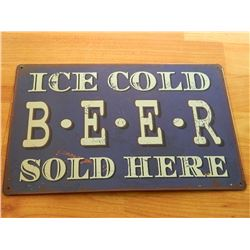VINTAGE DESIGNED METAL SIGN - ICE COLD BEER