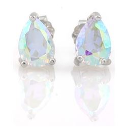 EARRINGS -  1 ½  CTW PEAR FACETED MERCURY MYSTIC TOPAZ IN 925 STERLING SILVER SETTING - RETAIL ESTIM