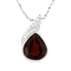 "NECKLACE - 3/4 CARAT GARNET IN 925 STERLING SILVER FAN SETTING - INCLUDES 20"" WHITE GOLD OVER 925 IT"
