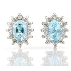 EARRINGS - 1.2 CTW BABY SWISS BLUE TOPAZ & DIAMOND IN 925 STERLING SILVER SETTING - RETAIL ESTIMATE