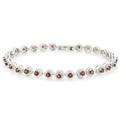 ***** FEATURE ITEM **** BRACELET -  4 2/3 CARAT (27 PCS) GARNETS & (10 PCS) DIAMONDS IN 925 STERLING
