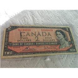 BANK NOTE - CANADA - $2 - 1954