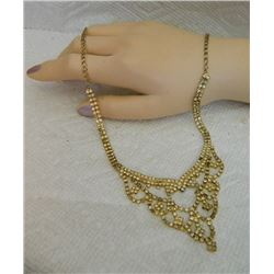 RHINESTONE NECKLACE - GOLD COLOR WITH CLEAR RHINESTONES