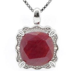 ***NEW*** NECKLACE SET - SMASHING 2.80 CT RUBY & 2 PCS GENUINE DIAMOND IN PLATINUM OVER 0.925 STERLI