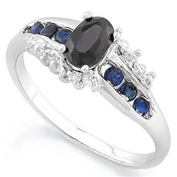 ***NEW*** RING - EXQUISITE 1 CARAT GENUINE DARK SAPPHIRE & DIAMOND IN 925 STERLING SILVER SETTING -
