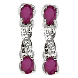 ***NEW*** EARRINGS - DELICATE 4/5 CARAT RUBY & DIAMONDS IN 925 STERLING SILVER SETTING - RETAIL ESTI