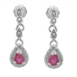 ***NEW*** EARRINGS - PRECIOUS 1/3 CARAT GENUINE RUBY & DIAMONDS IN 925 STERLING SILVER SETTING - RET