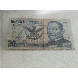 PAPER NOTE - VEINTE - 20 PESO - BANCO DE MEXICO - 1999