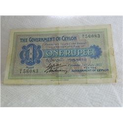 PAPER NOTE - GOVERNMENT OF CEYLON - 1 RUPEE - COLUMBO, 24TH JULY, 1937
