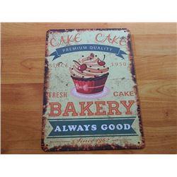 VINTAGE DESIGNED METAL SIGN - CAKE CAKE BAKERY