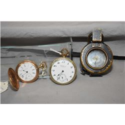 Lot of Three Items ; Waltham Gold Filled Hunter Case 15 Jewel Pocket Watch - Elgin 17 Jewel Gold Fil