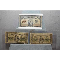 Lot of Three Paper 25 Cent Bills Called Shinplasters [ 1923 in hard plastic case, two older ones in
