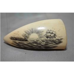"Scrimshaw Ivory Whalestooth approx. 3"" Ht., with carving of Ship coming in past a Lighthouse scene"