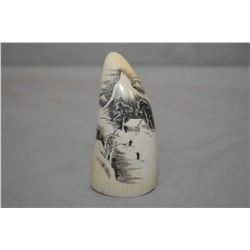 "Scrimshaw Ivory Whalestooth approx. 3 1/2"" Ht. with carving of Cabin in the mountain scene with two"