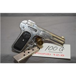 Prohib 12 -6 F.N. Browning Model 1900 .32 Auto Cal 7 Shot Semi Auto Pistol w/ 102 mm bbl [ nickel fi