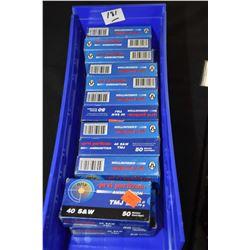 Blue Plastic Tray : Twelve Boxes ( 50 rnds per ) Prvi Partizan .40 S & W Cal TMJ 180 Grain Ammo - Re