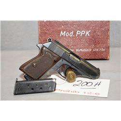 Prohib 12 - 6 Walther Model PPK 7.65 MM Cal 7 Shot Semi Auto Pistol w/ 83 mm bbl [ blued finish star