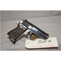 Prohib 12 - 6 Walther Model PPK 7.65 MM Cal 7 Shot Semi Auto Pistol w/ 83 mm bbl [ blued finish, sta