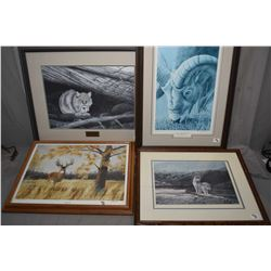 "Lot of Four Framed Pictures : Limited Edition Print No. 7/ 300 ""Feline Sanctuary ""by Alex Halliburto"